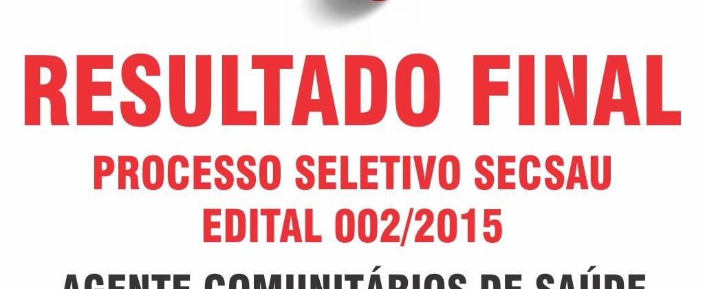Resultado Final Edital 002 2015