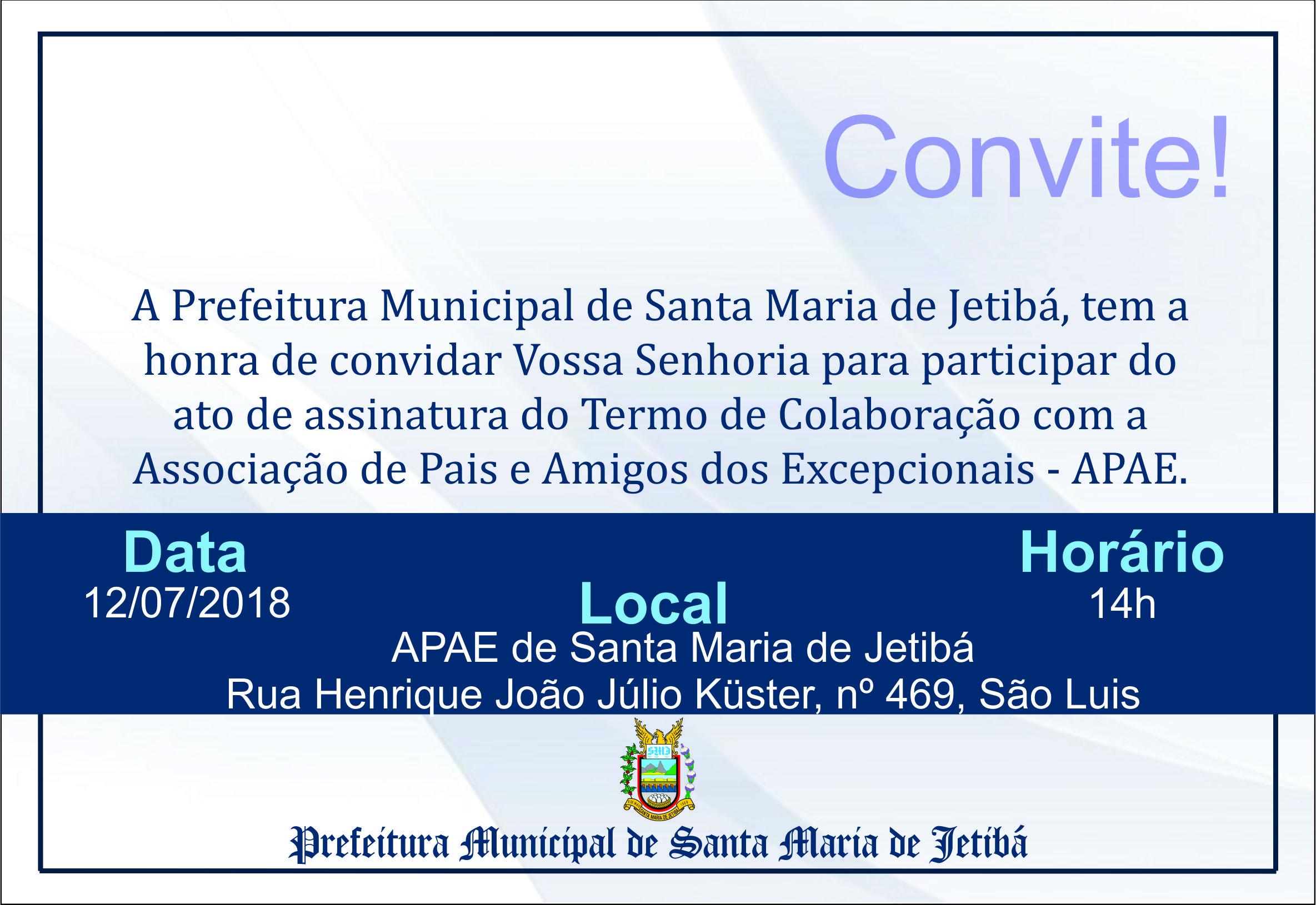 CONVITE ASSINATURA DE CONVENIO COM A APAE